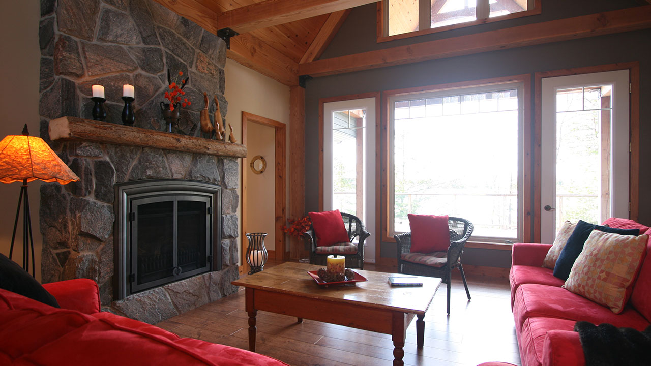 architect designed cottage - parry sound - living overlooking lake