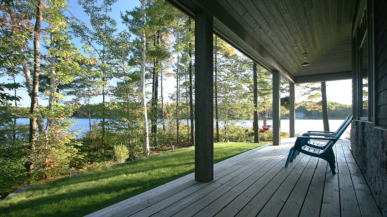 architect designed retirement home - muskoka - lakeside porch