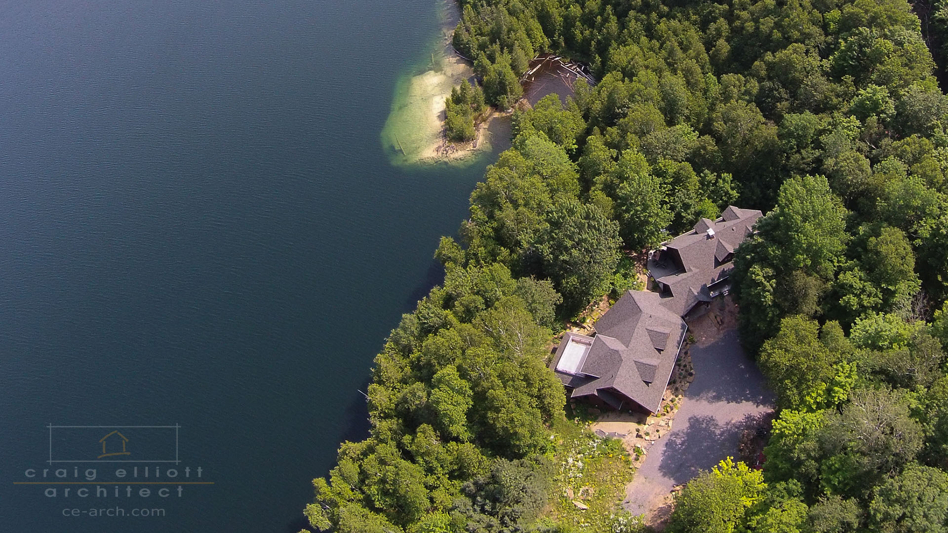 architect designed home - bancroft - drone view