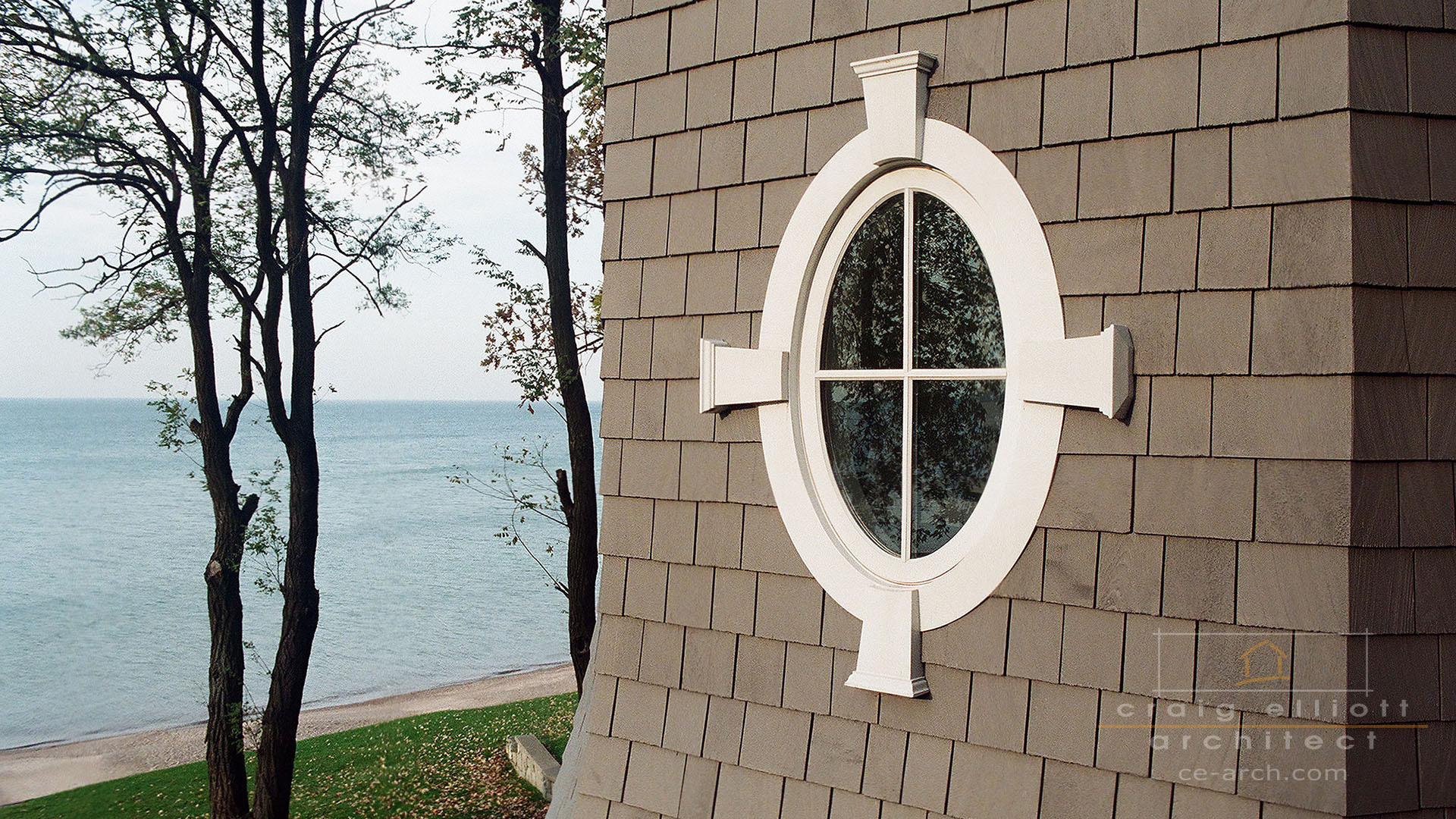 architect designed home - lake huron - oval window