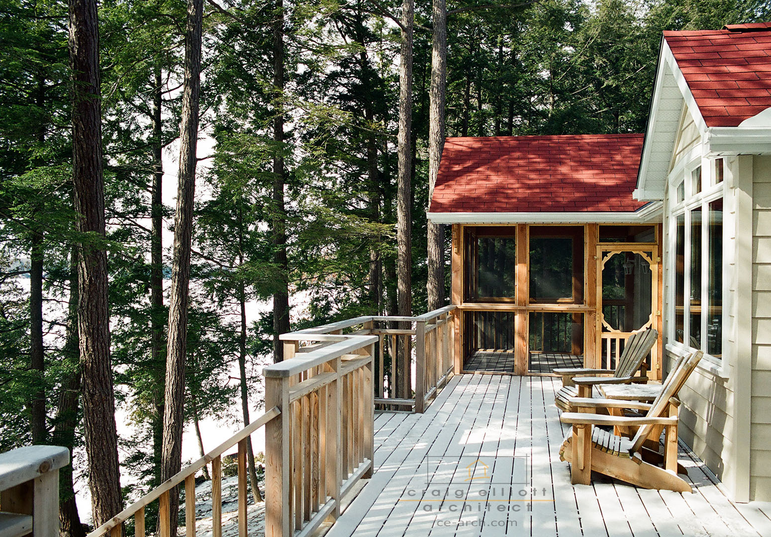architect designed cottage - lake muskoka cottage - porch