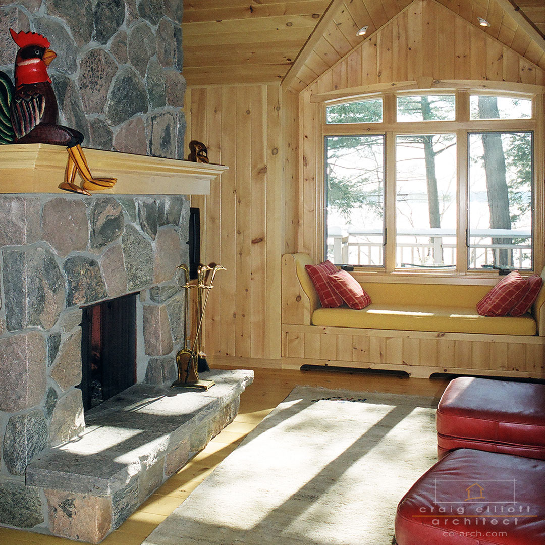 architect designed cottage - lake muskoka cottage - fireplace