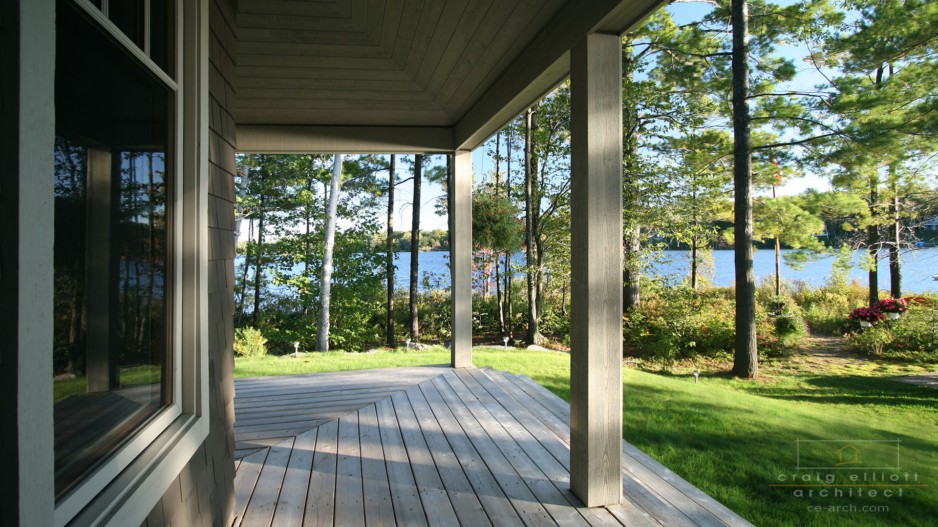 architect designed lakefront home - muskoka - porch