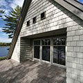 architect designed lakefront home - muskoka - recessed windows upper gable