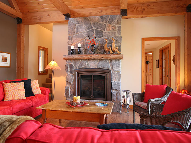 architect designed new lakefront cottage - parry sound - timber-frame family room fireplace S